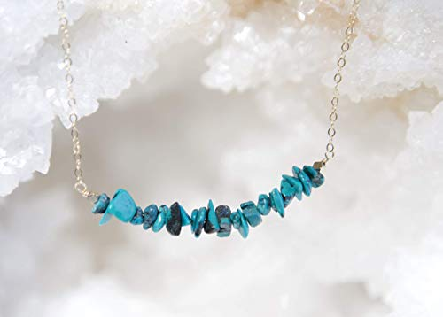 Green Turquoise Chips Bar Gold Filled Necklace - 16