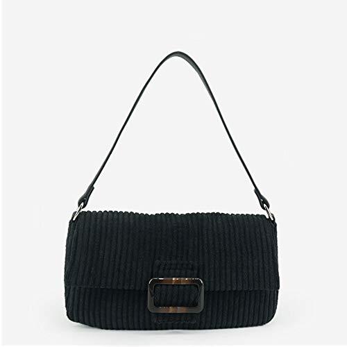 HANYF Dongkuan Retro Corduroy Shoulder Bag, Ms. Niche Tortoiseshell Buckle Baguette Bag,Black