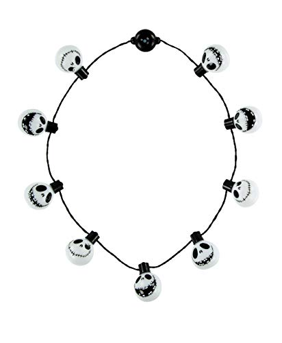 Disney Parks Halloween Jack Skellington Face Light Up Glow Necklace