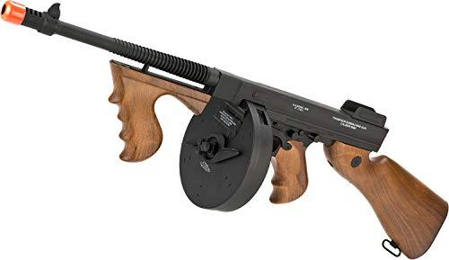 Evike Cybergun Licensed Thompson Chicago Typewriter Airsoft AEG Rifle w/Drum Mag - (Package: Add 9.6v NiMH Battery + Charger) (Best Milsim Airsoft Guns)