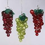 Kurt Adler 4-Inch Beaded Grapes Ornament, Set of 3
