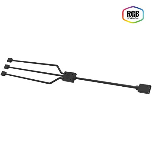 Cooler Master 1-to-3 RGB Splitter Cable for LED Strips, RGB Case Fans, 5 & 4-Pin Header Compatibility, Computer Cases CPU Coolers and Radiators