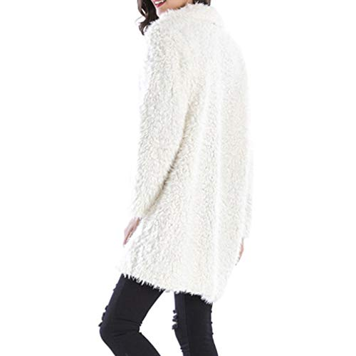 Yying Cardigan Donna Solid Beige Outwear Coat Knitted Loose Long Sleeve Warm SqSfx1Yr