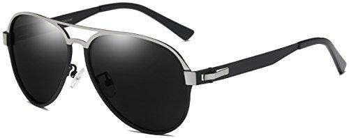 d2a8d2e3fe25 DUCO New Design Men s Aviator Style Sunglasses with Ultra Light Metal Frame  3028 (Black Frame