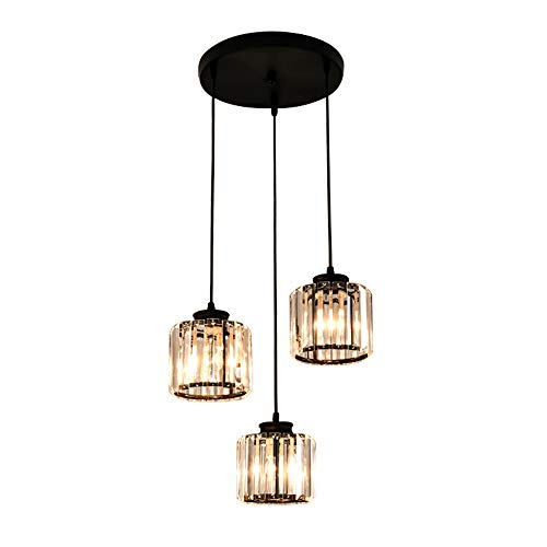 Windsor Home Deco WH-63423-3 A Crystal Pendant Lamp, 3-Light Crystal Pendant Lights for Bedrooms Living Room Dining Room Lighting