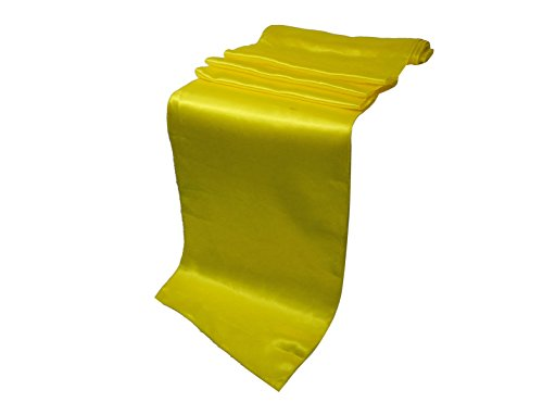 Elina Home 12-Inch-by-108-Inch Satin Table Runner, Yellow (Pack of 10) ()