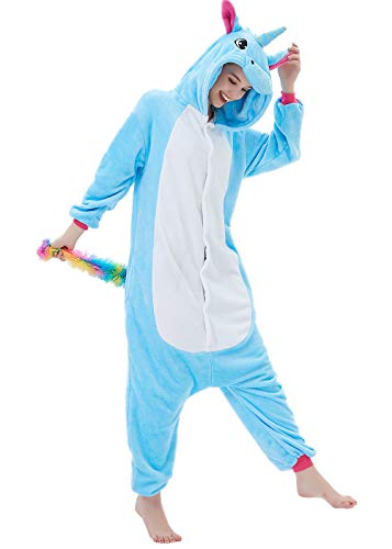 ABENCA Fleece Onesie Pajamas for Women Adult Cartoon Animal Unicorn Christmas Halloween Cosplay Onepiece Costume, Unicorn Blue Old, XL ()
