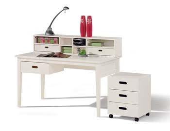 Cello White Desk With Desktop Storage Unit   Color: Transparent