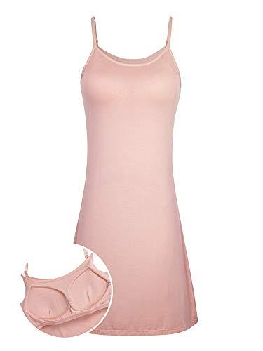 DYLH Women's Sexy Sleepwear Slip Chemises Build in Bra Active Nightshirt S-3XL Pink