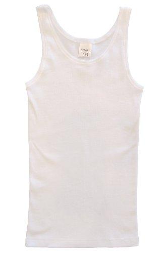 HERMKO 2000 Mädchen Unterhemd aus 100% Baumwolle, schadstoffgeprüftes Achselhemd, Tank Top made in EU, Farbe:weiß, Größe:128