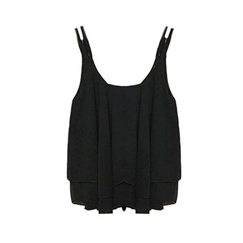 Tonsee Herbst Sommer Frauen Bilayer ärmelloses Shirt chiffon Weste Tank tops (S, schwarz)