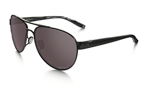 Oakley Women's Disclosure OO4110-04 Polarized Aviator Sunglasses, Polished Black, 58 - Black Aviators Oakley
