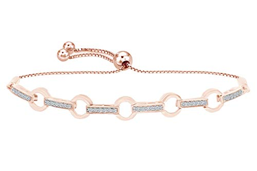 Round White Natural Diamond Circle Link Bolo Bracelet in 14k Rose Gold Over Sterling Silver - 9.5