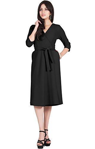 Plus Size Dresses Designer - Viris Zamara Plus Size Womens V-Neck Half Sleeve Wedding Semi Formal Working Office Flowy Flowing Solid Modest Cute Robe Knee Length Work A-line Pockets Midi Dress Dresses, Black 2XL 18-20