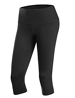 Doublju Womens Active High Waist Tummy Control Workout Capri Yoga Pants with Plus Size
