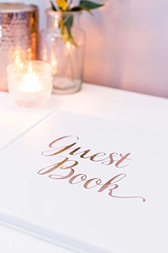 [New] Blank Wedding Guest Book Guestbook Rose Gold & White Paper with NO Lines - Registry Books - Rosegold Foil Stamping and 180GSM Paper 32 Pages 64 Sides Square Photo #3