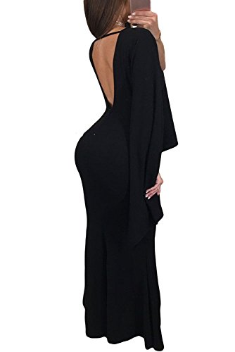 27d5f784e ... Low Cut Back Split Long Sleeve Maxi Dress Evening Party Prom Dress.   
