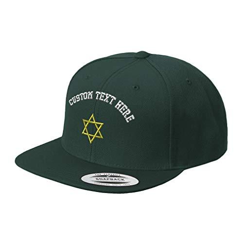 Custom Snapback Baseball Cap Star of David Judish B Embroidery Design Acrylic Cap Snaps Spruce Green Personalized Text Here