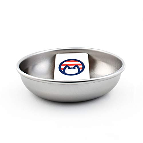 Americat Company Set of Stainless Steel Cat Bowls – Made in The USA – Whisker Friendly to Prevent Whisker Fatigue – Cat Food and Water Dishes (Set of 2, 4 or 6) (One)