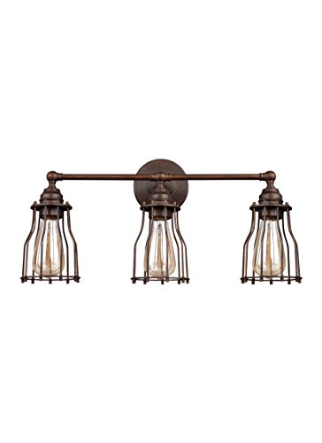 Feiss VS24003PRZ Calgary Industrial Vintage Wall Vanity Bath Lighting, Bronze, 3-Light (22″W x 11″H) 180watts Review