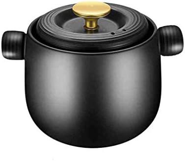 キャセロール調理器家庭用ガス高温耐性瓶健康スープ煲小キャセロール明火大容量セラミックスープポット(黒) (Size : 6L)