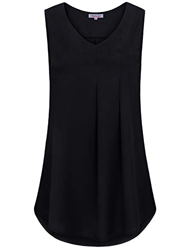 Dressy Tank Tops for Women for Work, Female Unique Sleeveless Elegant V Neck Flowy Modern Fashion Business Blouses Valentines Ladys Maternity Clothes Chic Chiffon Tunic Pregnancy Nice Shirts Black L