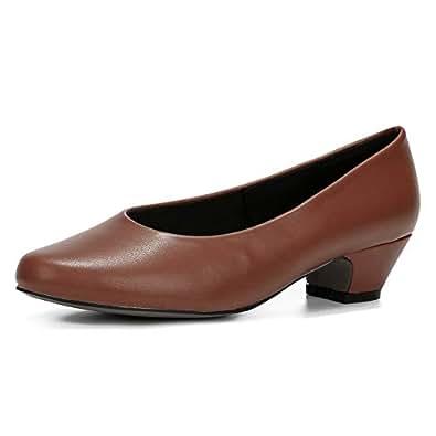 fereshte Women's Low Chunky Heel Pump Shoes Brown Size: 5.5