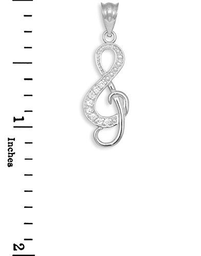 10 ct 471/1000 Diamant decore Or Blanc ViolinCle Musik- Pendentif