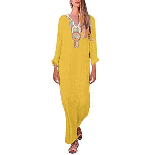 Women Dresses Casual Summer Hosamtel Sleeveless Bohemian Floral Cotton Linen Beach Loose Fit Plus Size Split Long Maxi Dress