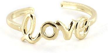 【ノーブランド品】調節可能 足指リング 足指輪 ピンキーリング 裸足 足環 LOVEパターン トーリング 飾り 彫る