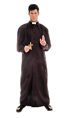 Underwraps Men's Plus-Size Deluxe Priest, Black/White, XX-Large -