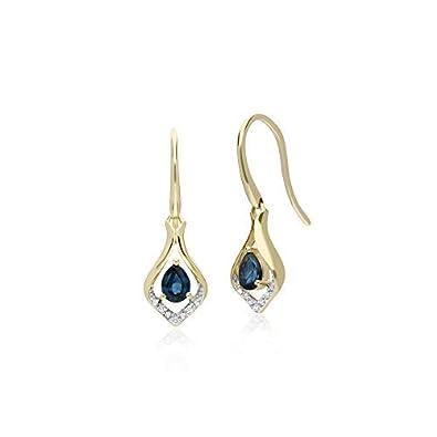 9ct Yellow Gold Earrings Blue Sapphire Drop Earrings