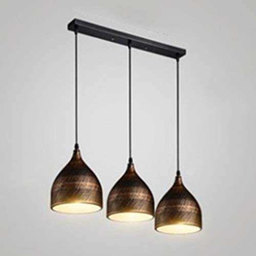 (Ruanpu Industrial Pendant Light Adjustable 20'' Wide Retro Ceiling Light Vintage Bronze 3 Lights Chandelier with Dome Metal Shade in Antique Brass)