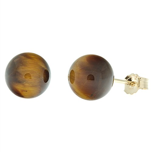 Trustmark 14K Yellow Gold 8mm Natural Brown Tigers Eye Ball Stud Post Earrings 14k Yellow Gold Tiger