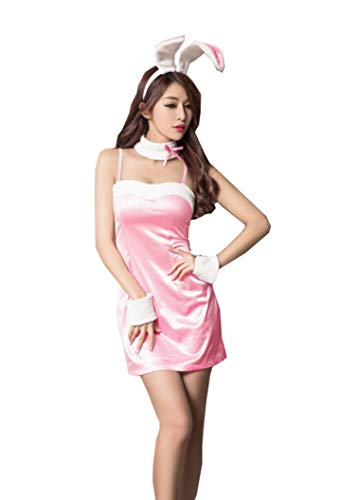 Lingeriecats Sexy Bunny Outfit Cosplay Costume (Free Sport Panty), Pink, One Size fits Most -