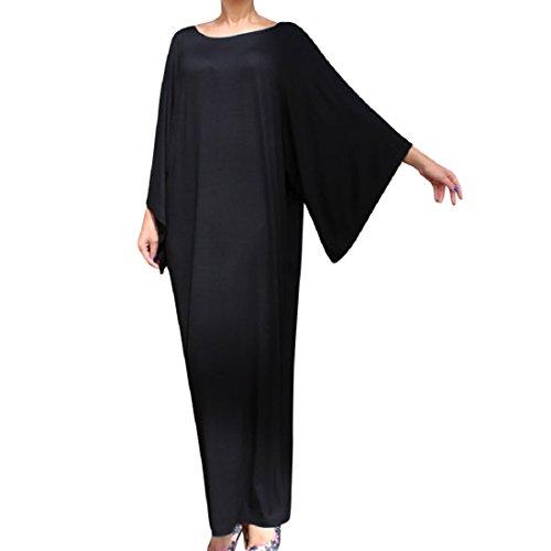 Womens Fashion Casual Chiffon Long Slip Maxi Dress (Black) - 7