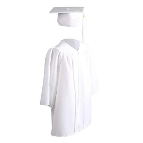 OSBO GradSeason Unisex Matte Kindergarten Graduation Gown Cap Tassel Set White -