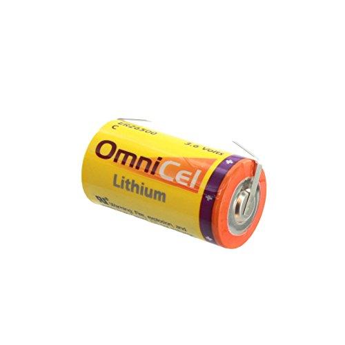 OmniCel ER26500 3.6V 8.5Ah Size C Lithium Battery with Tabs Eagle Pitcher PT-2200, Tadiran TL-2200 TL-4920 TL-5920, Tekcell SB-C01 SB-C02, Xeno XL-145F, Fits OBU Tollgate Reading - Pitcher Eagle