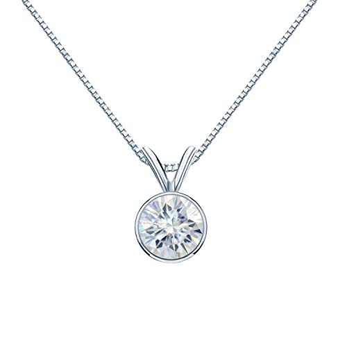 Diamond Wish 18K White Gold Round Moissanite Solitaire Pendant 9mm 2.5 TGW in Bezel (O.White) 18