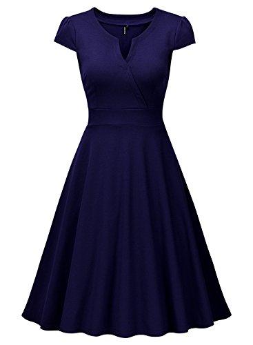 Miusol Vestido Plisado de Mujer Vintage 1950s Manga Corta Vestido de Noche Azul