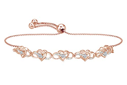 White Natural Diamond Interlocking Infinity & Heart Bolo Bracelet in 14k Rose Gold Over Sterling Silver - 10.25