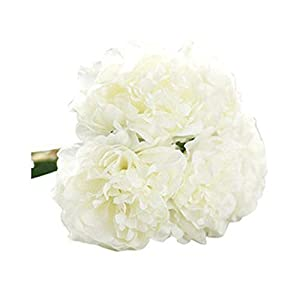 MARJON Flowers5 Heads Artificial Peony Fake Flowers Wedding Bouquet Bridal Hydrangea Decor - White 54