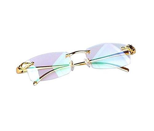 (Luxury Pure Titanium LEOPARD HEAD BRAND Rimless Gold Eyeglass Frame Spectacles)
