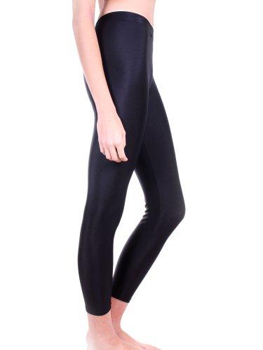 Simplicity Ladies Shiny Wet Look Tights/ Black Footless Leggings