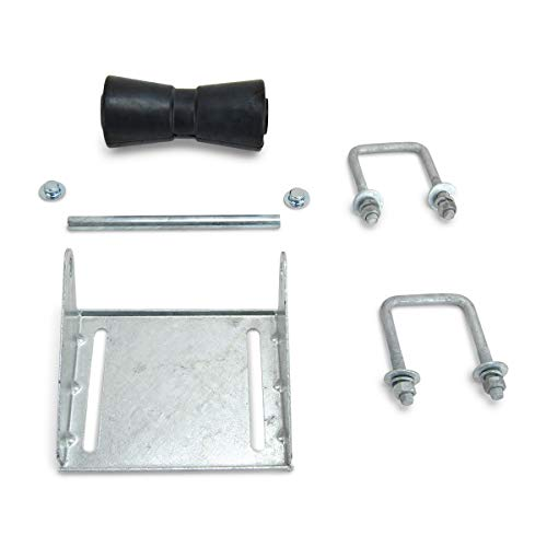 Sturdy Built 8 inch Black Rubber Boat Trailer Keel Roller and Bracket Kit for 3x3 Cross Members