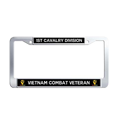 Division Vietnam Veteran License Plate - JiuzFrames 1st Cavalry Division Vietnam Combat Veteran License Plate Frame, US Army Military Waterproof Metal Stainless Steel License Frame Holder with Screw Caps