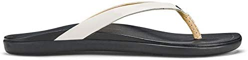 OluKai Ho'Opio Leather - Women's Sandal White/Black - 5
