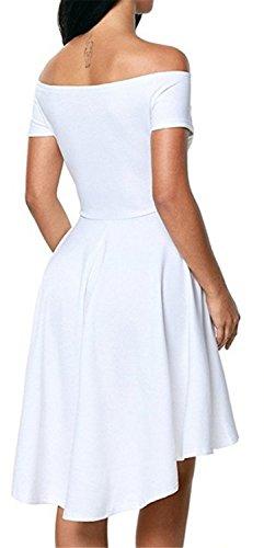 Vestidos Mujer YOGLY Vestidos de Mujeres Vestidos Elegante Verano Manga del Loto de Off Shoulder Coctel Vestido de Fiesta de Noche blanco