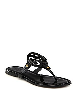 Tory Burch Women's Vachetta Leather Flat Thong Sandals - Miller (6, Patent Black) by Tory Burch
