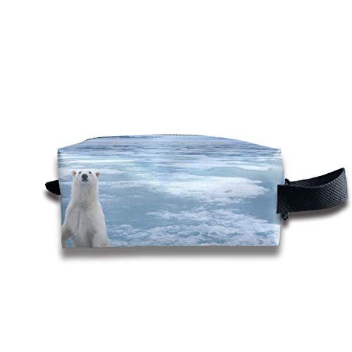 Clash Durable Zipper Wallet Makeup Handbag With Wrist Band Polar Bear Toiletry Bag -